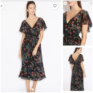 Mango Floral Print Ruffle Neckline Midi Dress